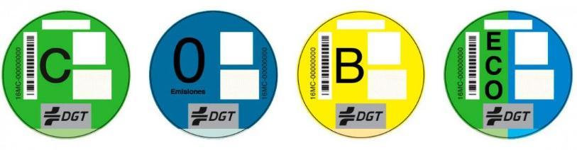 Etiquetas medioambientales de la DGT para los coches