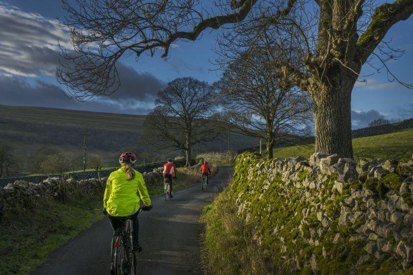 Amigos haciendo una ruta de ciclismo