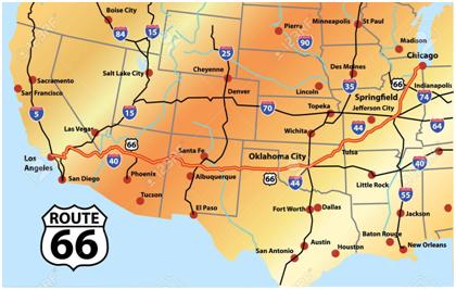 mapa ruta 66 en moto